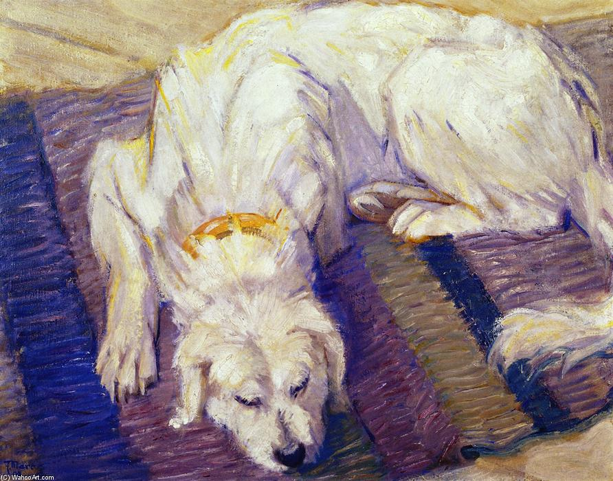 Lying Dog (also known as Portrait of a Dog), Oil On Panel by Franz Marc (1880-1916, Germany)