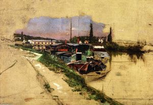Giovanni Boldini - The Machine at Marly (also known as The Seine at Bougivel)