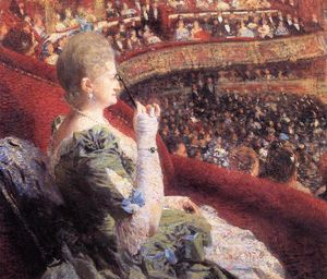 Theo Van Rysselberghe - Madame Edmond Picard in Her Box at Theatre de la Monnaie