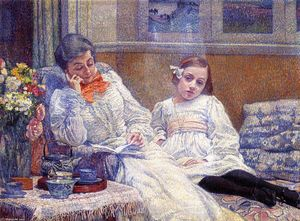 Theo Van Rysselberghe - Madame Theo van Rysselberghe and Her Daughter