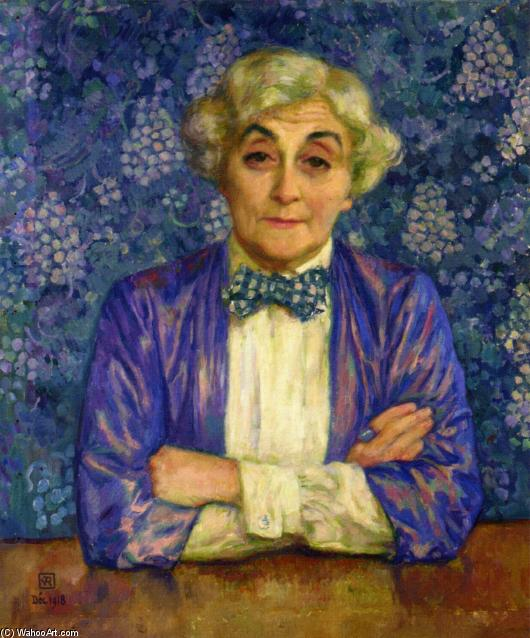 Madame van Rysselberghe in a Chedkered Bow Tie, Oil On Canvas by Theo Van Rysselberghe (1862-1926, Belgium)