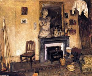 Jean Edouard Vuillard - Madame Vuillard Lighting the Stove