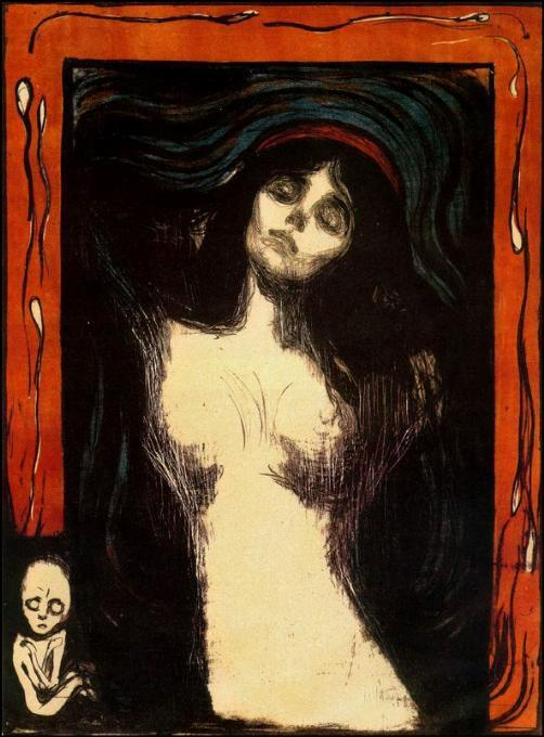 Madonna, 1894 by Edvard Munch (1863-1944, Sweden) | Museum Quality Reproductions | WahooArt.com