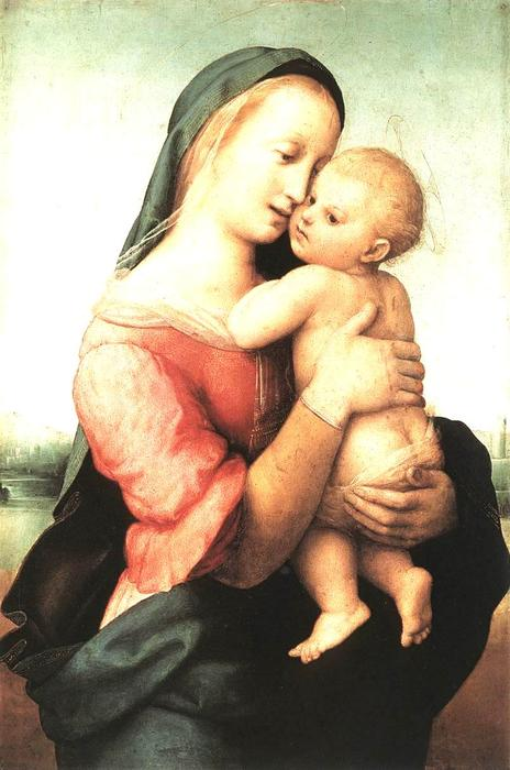 Madonna and Child (The Tempi Madonna), 1508 by Raphael (Raffaello Sanzio Da Urbino) (1483-1520, Italy) | Oil Painting | WahooArt.com