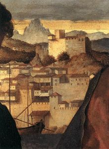Giovanni Bellini - Madonna and Child with St John the Baptist and a Saint (detail)