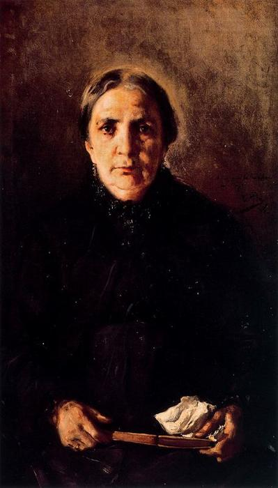 Madre del Pintor, Oil On Canvas by Cecilio Pla Y Gallardo (1860-1934, Spain)