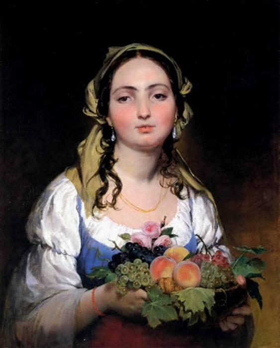 The maiden with flowers by Friedrich Ritter Von Amerling (1803-1887) | WahooArt.com