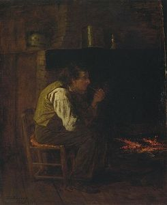 Jonathan Eastman Johnson - Maine Interior - Man with Pipe