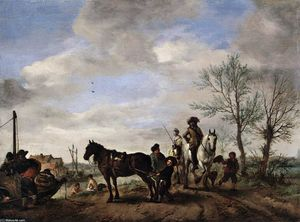 Philips Wouwerman - A Man and a Woman on Horseback