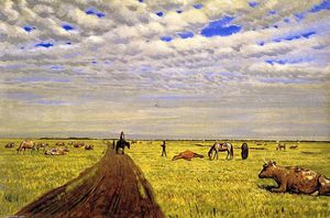 William George Richardson Hind - Manitoba Prairie Scene with Three Figures, Horses and Cattle
