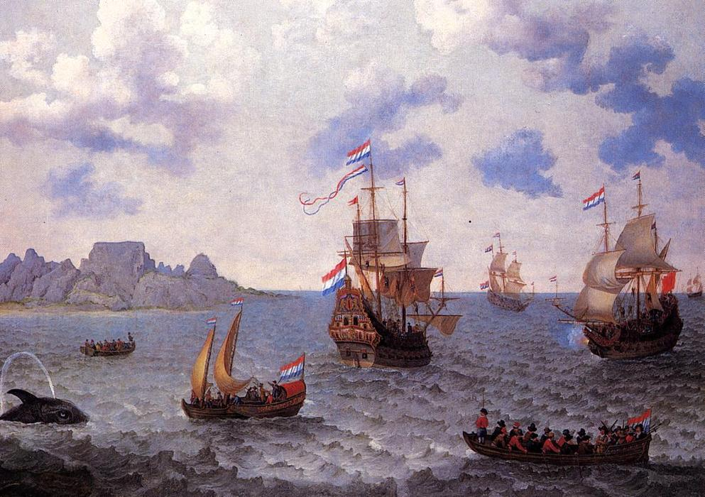 The Man=o'-War 'Amsterdam' and other Dutch Ships in Table Bay, Oil On Canvas by Adam Willaerts (1577-1664, United Kingdom)