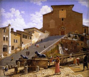 Christoffer Wilhelm Eckersberg - The Marble Steps Leading Up to Santa Maria in Aracoeli in Rome
