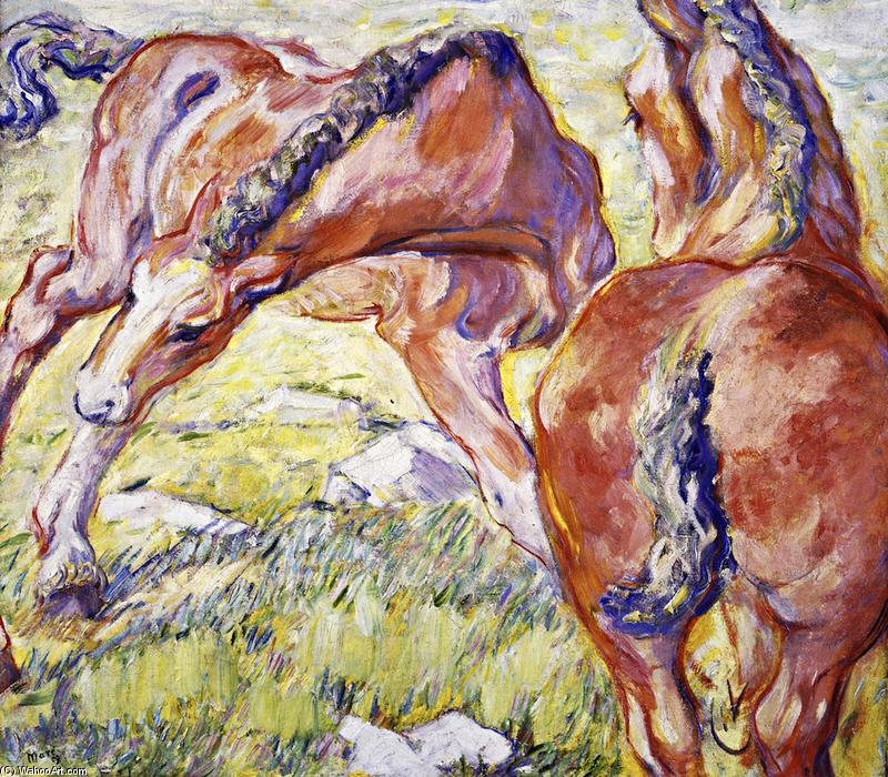 Mare with a Foal (also known as Horses in the Morning Sun), Oil On Canvas by Franz Marc (1880-1916, Germany)