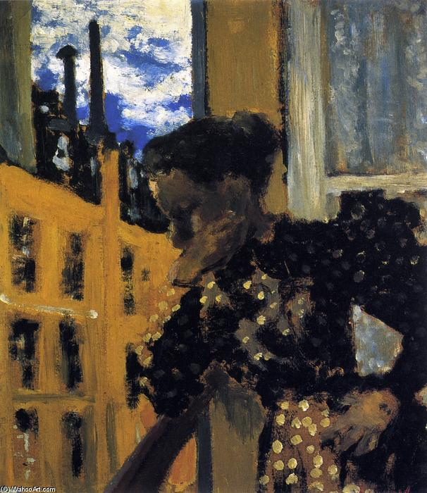 Marie at the Balcony Railing, Oil On Panel by Jean Edouard Vuillard (1868-1940, France)