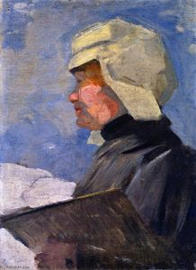 Franz Marc - Maria Franck with Palette (also known as Maria Franck Painting in the Snow)