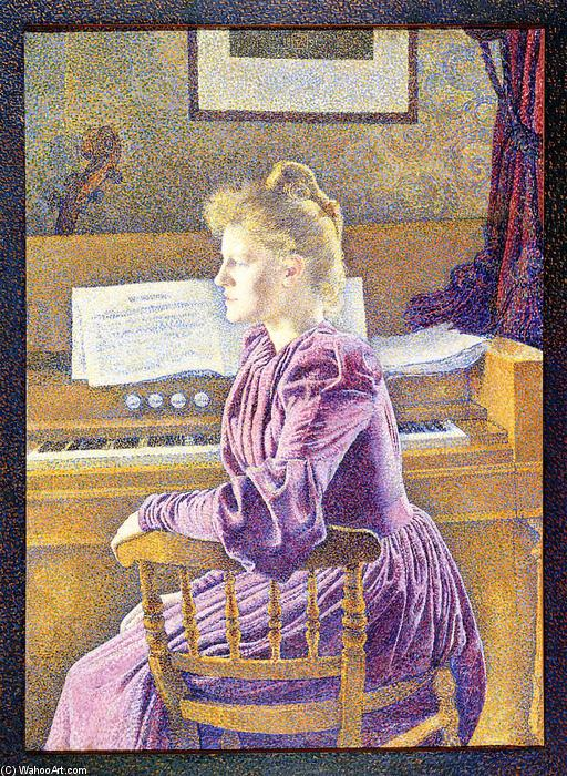 Maria Sethe at the Harmonium, Oil On Canvas by Theo Van Rysselberghe (1862-1926, Belgium)