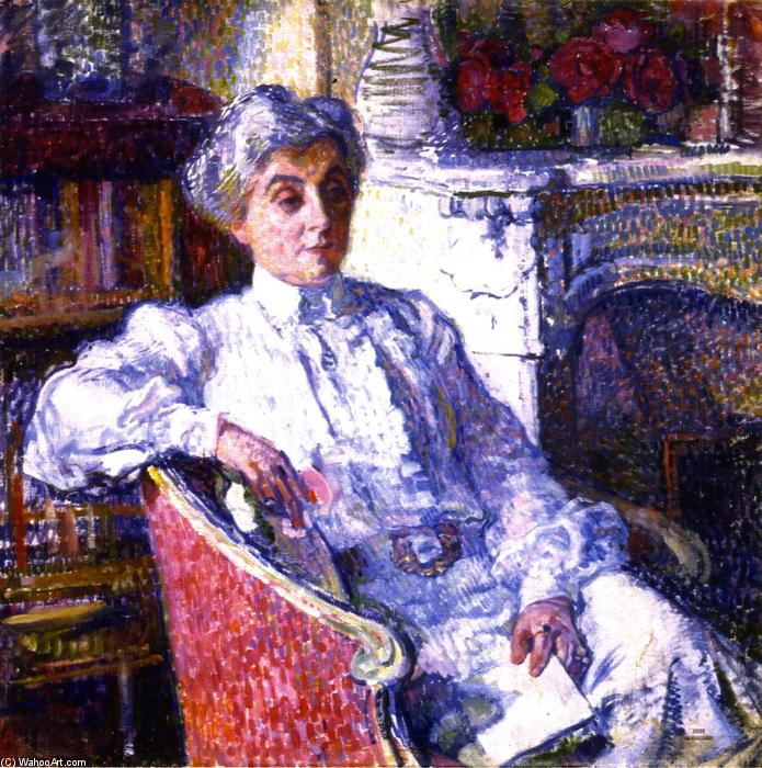 Maria van Rysselberghe in front of the Fire, Oil On Canvas by Theo Van Rysselberghe (1862-1926, Belgium)