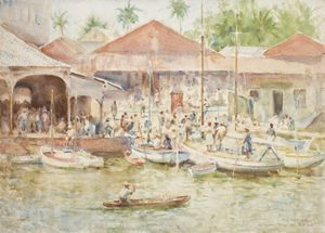 Henry Scott Tuke - The Market, Belize, British Honduras