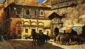 Edwin Lord Weeks - Market Square in Front of the Sacristy and Doorway of the Cathedral, Granada