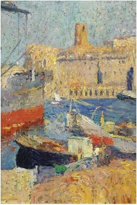 Marseilles, Oil On Canvas by Henri Jean Guillaume Martin (1860-1860, France)
