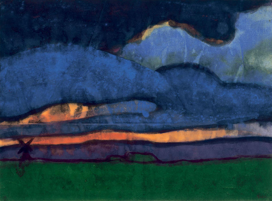 Marsh Landscape with Mill, 1920 by Emile Nolde (1867-1956, Germany) |  | WahooArt.com