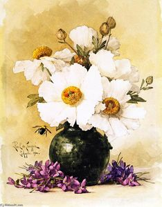 Raoul De Longpre - Matilija Poppies and California Violets