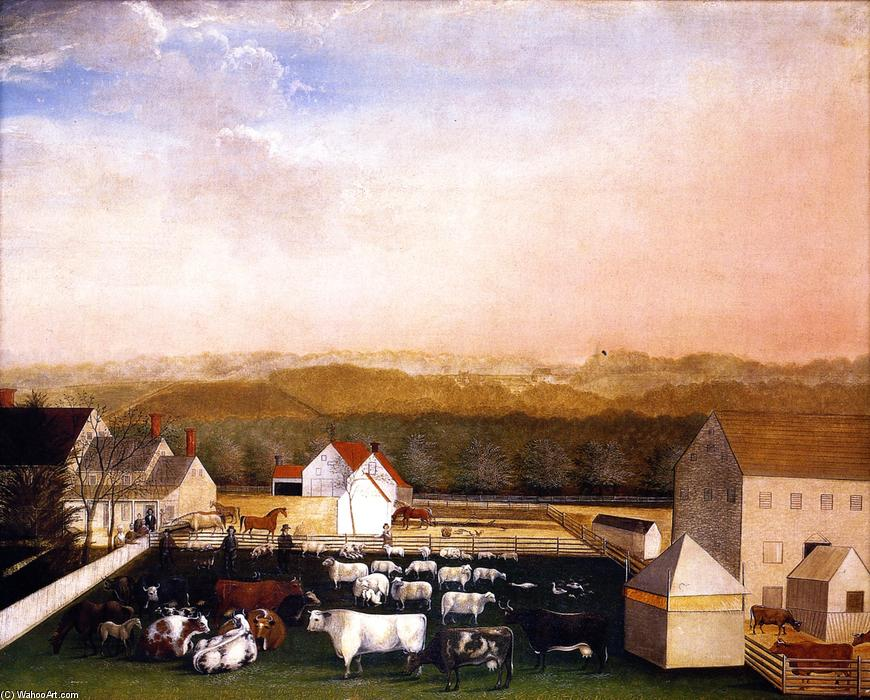 A May Morning View of the Farm and Stock of David Leedon, 1849 by Edward Hicks (1780-1849, United States) | Art Reproductions Edward Hicks | WahooArt.com