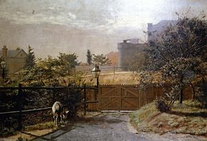 Frederick Mccubbin - Melbourne Gaol in Sunlight from the Public Library Grounds