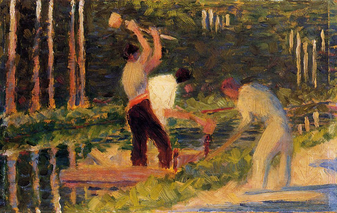 Men Laying Stakes, 1883 by Georges Pierre Seurat (1859-1891, France) | Paintings Reproductions Georges Pierre Seurat | WahooArt.com