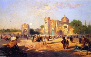 Thomas Moran - Mexican Plaza, Market Day