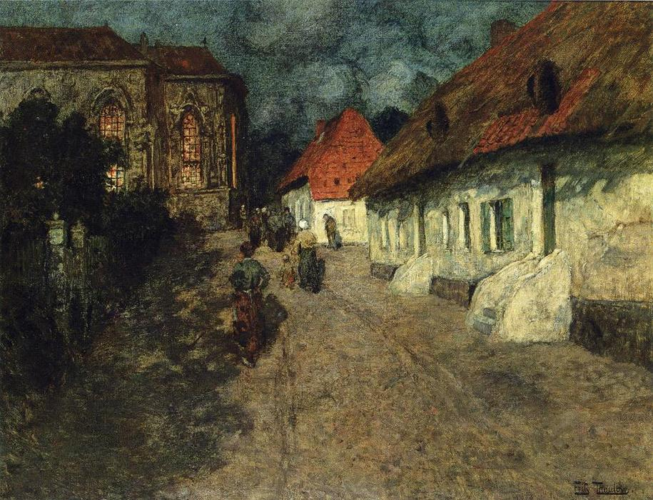 Midnight Mass, 1901 by Frits Thaulow (1847-1906, Norway) | Oil Painting | WahooArt.com