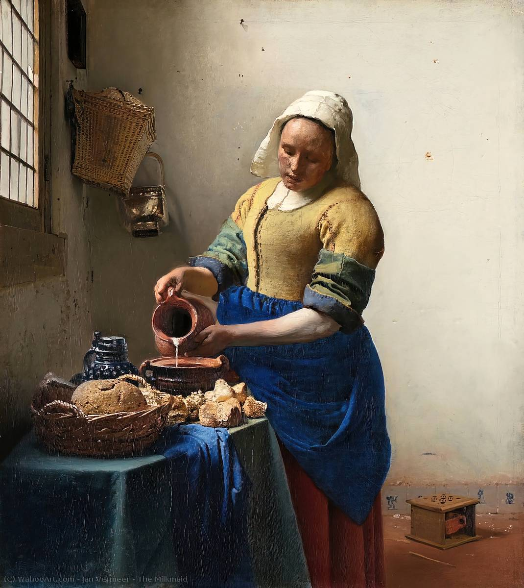 The Milkmaid, 1658 by Jan Vermeer (1632-1675, Netherlands) | Museum Quality Reproductions | WahooArt.com