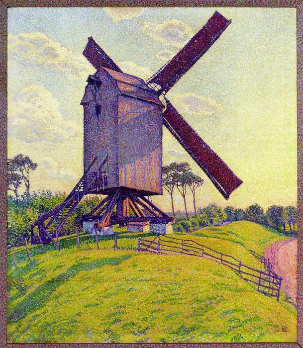 The Mill at Kelf, Oil On Canvas by Theo Van Rysselberghe (1862-1926, Belgium)