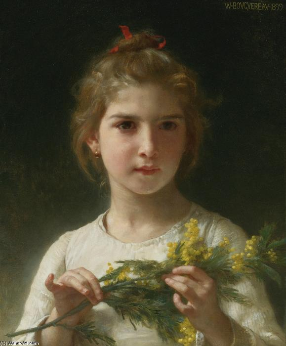 Mimosa, Oil On Canvas by William Adolphe Bouguereau (1825-1905, France)