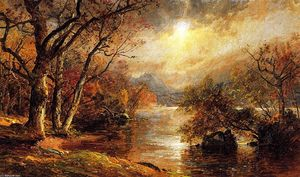 Jasper Francis Cropsey - A Misty Morning at Greenwood Lake