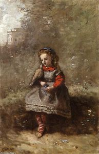 Jean Baptiste Camille Corot - Mlle. Leotine Desavary Holding a Turtledove