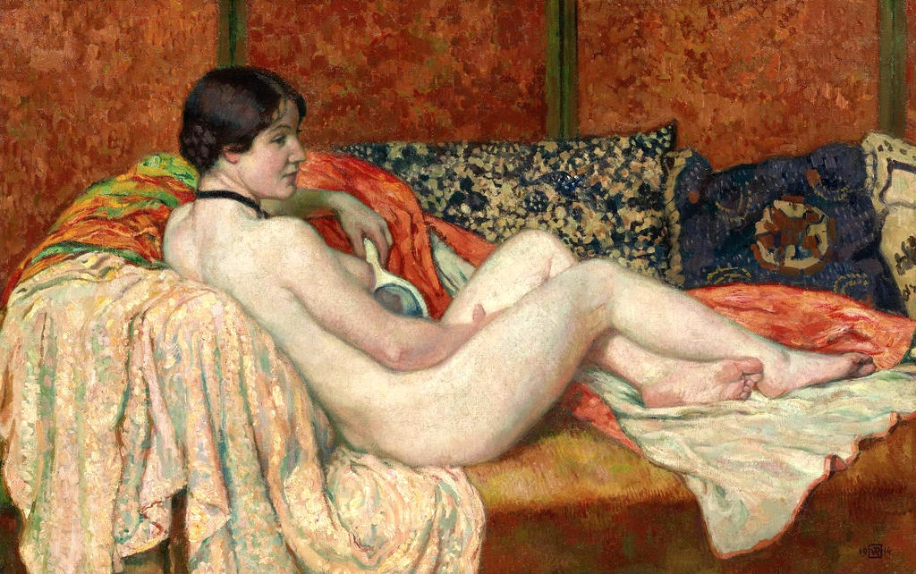 Model Resting, Oil On Canvas by Theo Van Rysselberghe (1862-1926, Belgium)