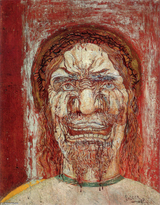 The Man of Sorrows, Tempera by James Ensor (1860-1949, Belgium)