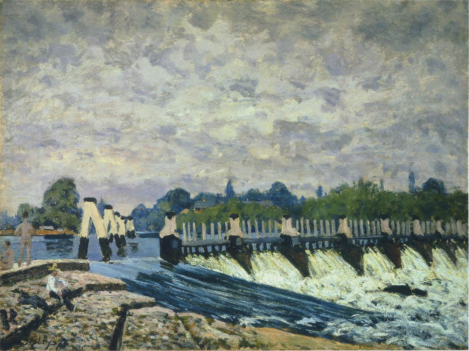 Molesey Weir at Hampton Court Morning, 1874 by Alfred Sisley (1839-1899, France) | Art Reproduction | WahooArt.com