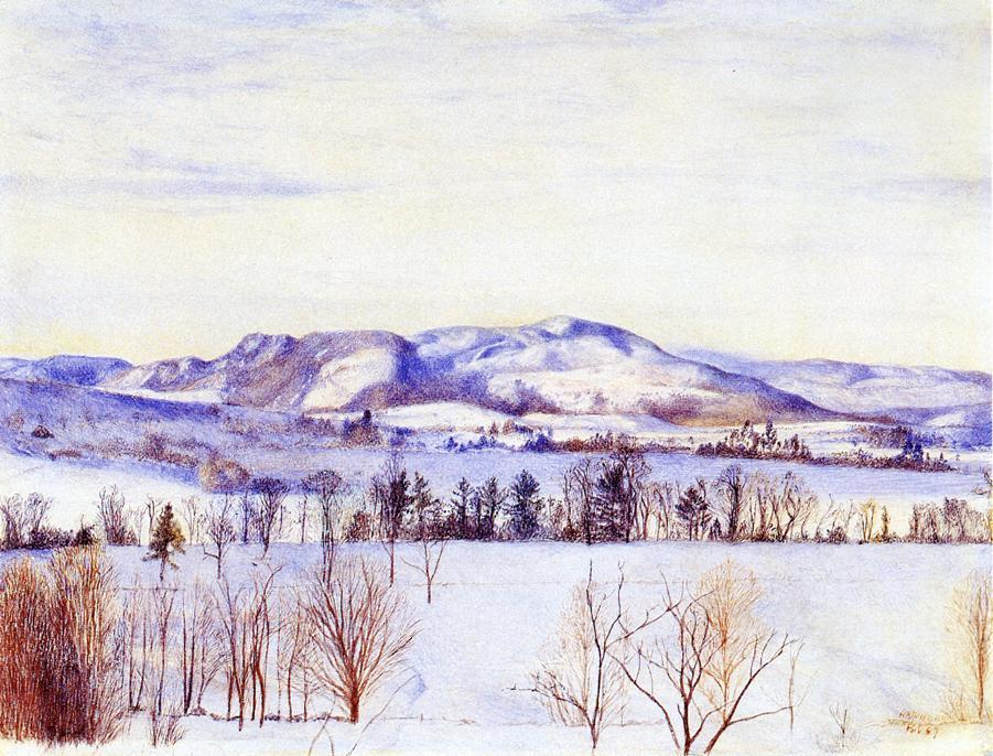Monument Mountain, Watercolour by Henry Roderick Newman (1833-1918, United States)