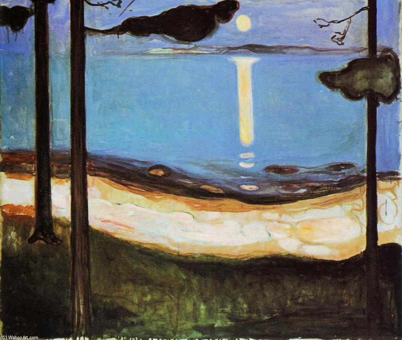 Moonlight, Oil On Canvas by Edvard Munch (1863-1944, Sweden)