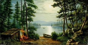 Levi Wells Prentice - Moonlight Camping at Schroon Lake