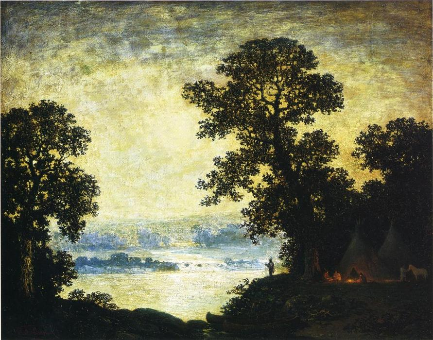 Moonlight, Indian Encampment, 1885 by Ralph Albert Blakelock (1847-1919, United States) | Museum Art Reproductions Ralph Albert Blakelock | WahooArt.com