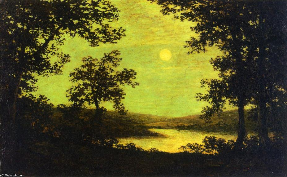 Moonlight on the Columbia River, 1885 by Ralph Albert Blakelock (1847-1919, United States) | Reproductions Ralph Albert Blakelock | WahooArt.com