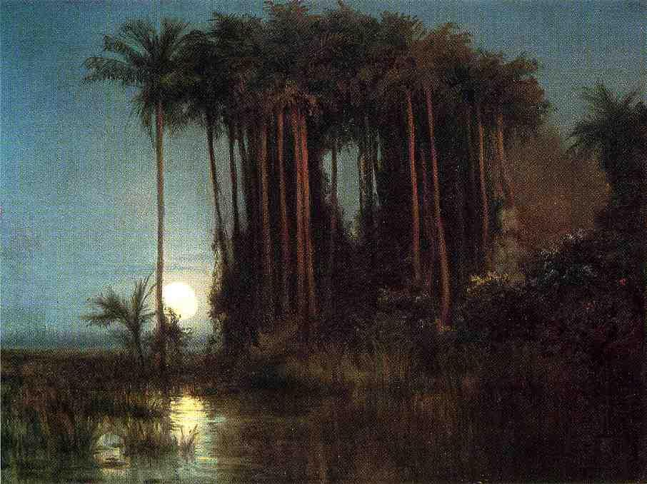 Moonlight over a Marsh in Ecuador, Oil On Panel by Louis Remy Mignot (1831-1870, United States)
