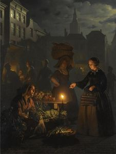 Petrus Van Schendel - A Moonlit Vegetable Market