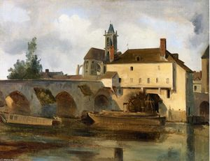 Jean Baptiste Camille Corot - Moret sur Loing, the Bridge and the Church