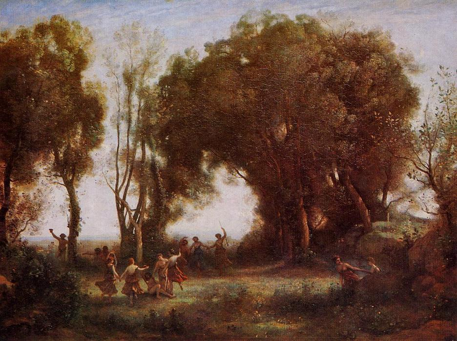 Morning - Dance of the Nymphs, Oil On Canvas by Jean Baptiste Camille Corot (1796-1875, France)