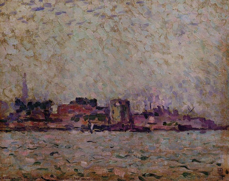 Morning Fog over the Port of Veer, Holland, 1906 by Theo Van Rysselberghe (1862-1926, Belgium) | Museum Quality Reproductions | WahooArt.com