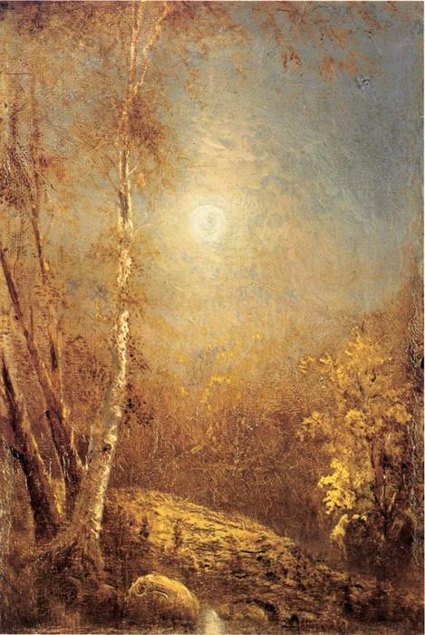 Morning Sun in Autumn, Oil On Panel by Louis Remy Mignot (1831-1870, United States)
